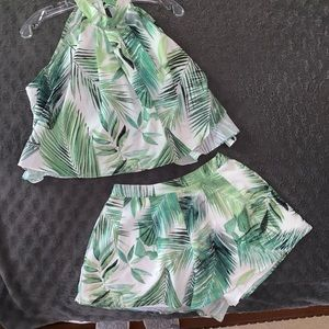 Palm print tropical set